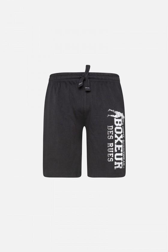 Тренировочные шорты с большим принтом черные