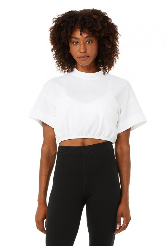 Укорочена футболка Kick It Crop White
