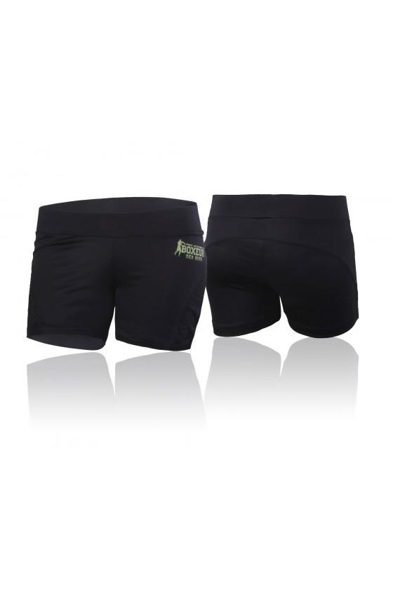 Женские шорты с сетчатой вставкой сбоку черные
