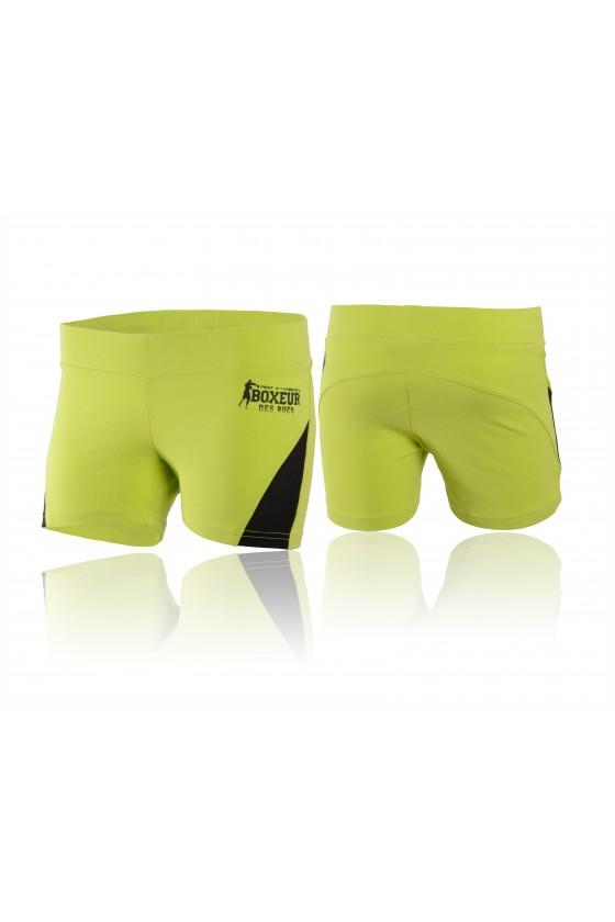 Женские шорты с сетчатой вставкой сбоку зеленые
