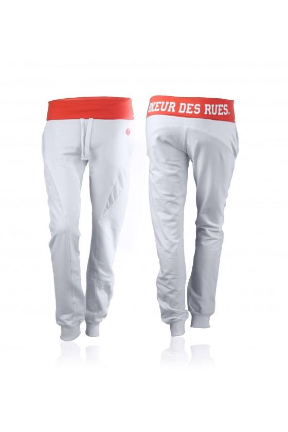 Жіночі штани з яскравим поясом білі