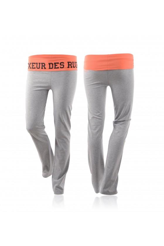 Тренировочные женские штаны с логотипом на поясе серые