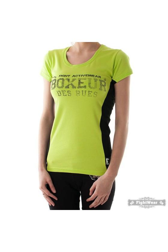 Женская футболка с сетчатой вставкой сбоку зеленая