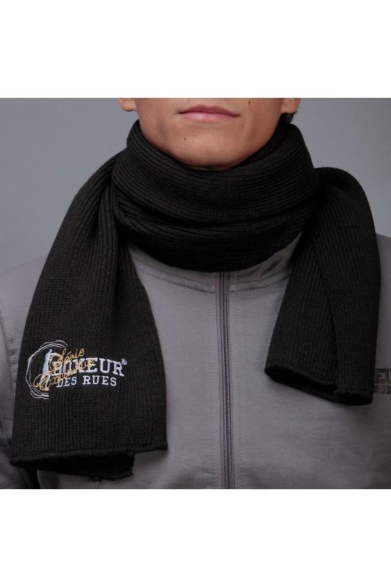 Шарф с вышитым логотипом черный