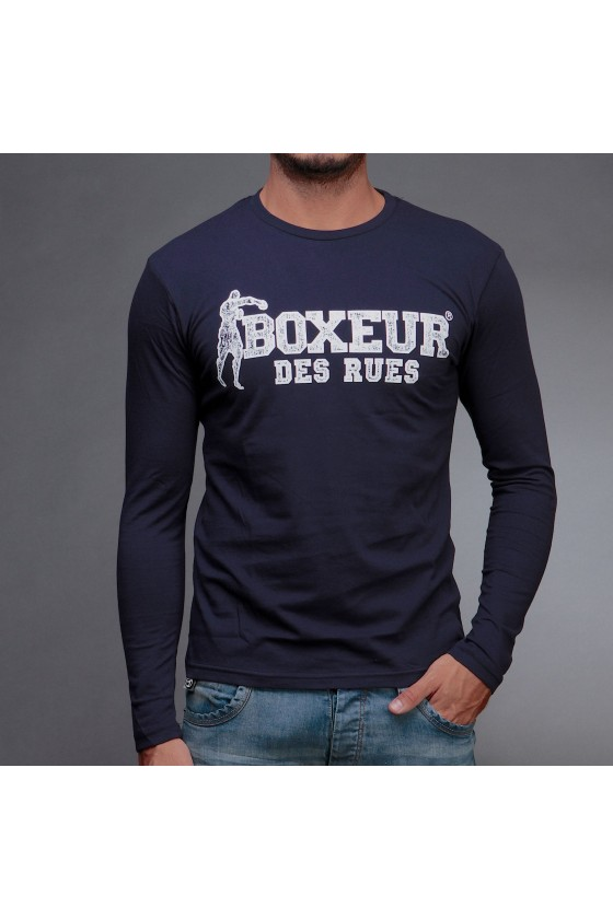Лонгслів з великим логотипом на грудях темно-синій