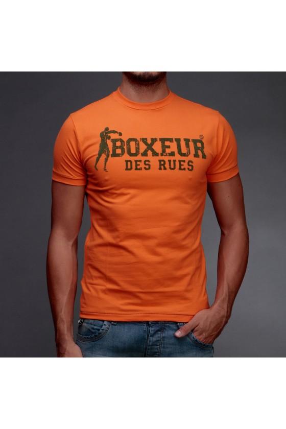 Мужская футболка с  логотипом на груди carbon wash  оранжевая