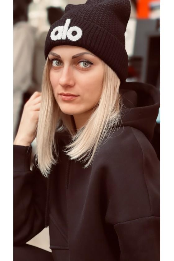 Худи женская с капюшоном на флисе Black