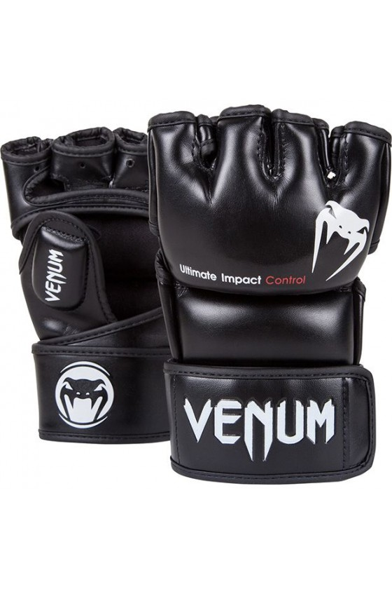 Перчатки MMA Venum Impact Skintex Leather Black