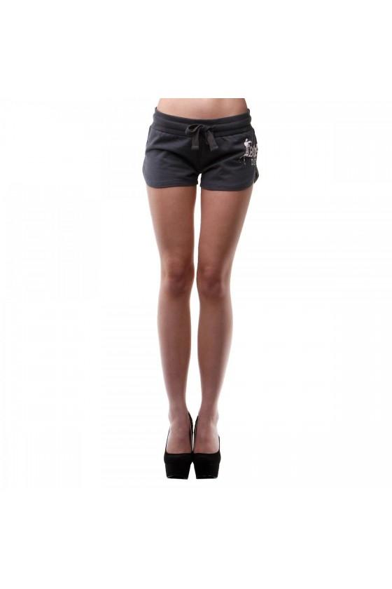 Женские шорты с логотипом сбоку антрацитовые