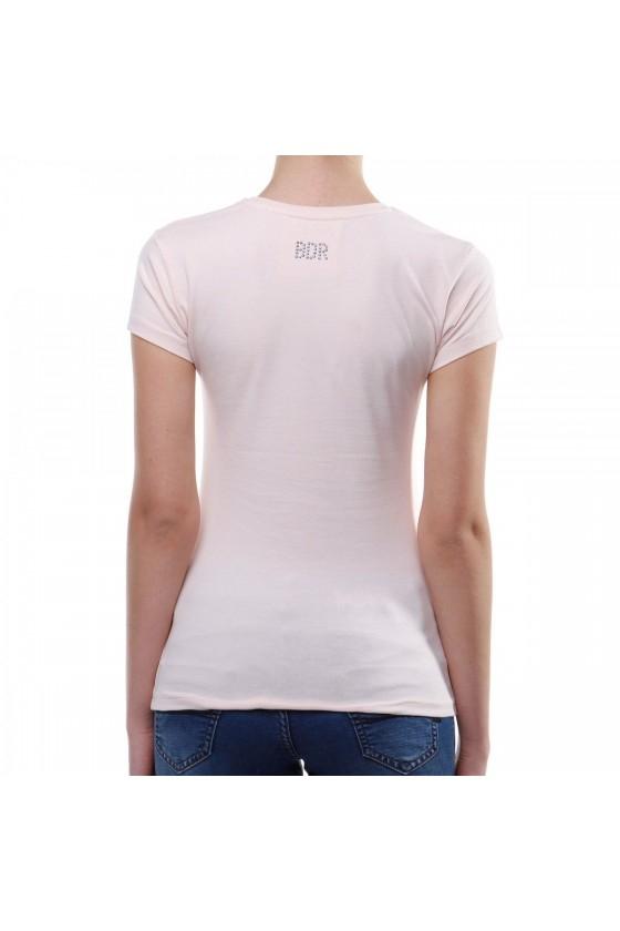 Женская футболка с большим логотипом спереди бледно-розовые