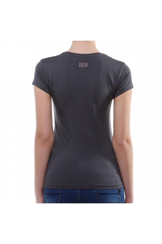 Женская футболка с большим логотипом спереди антрацитовая