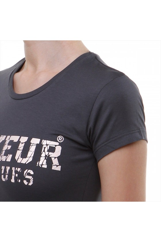 Жіноча футболка з великим логотипом спереду антрацитна