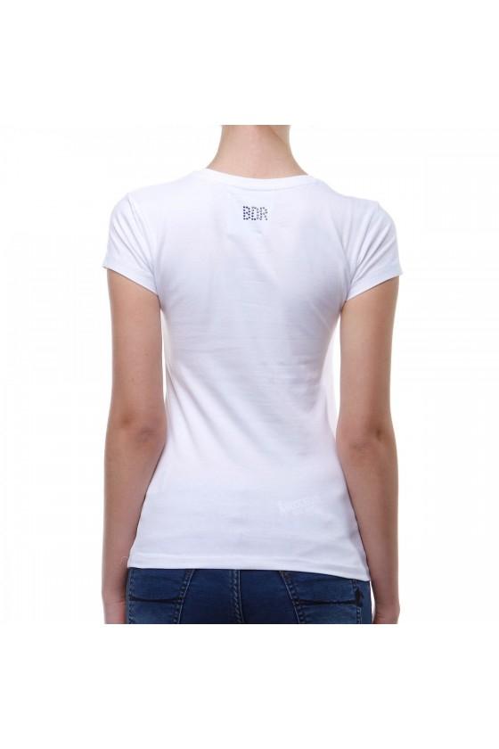 Женская футболка с большим логотипом спереди белая