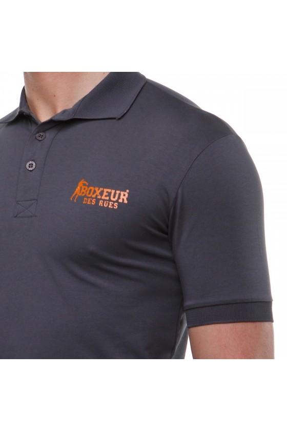 Футболка-поло c логотипом на спині антрацитна