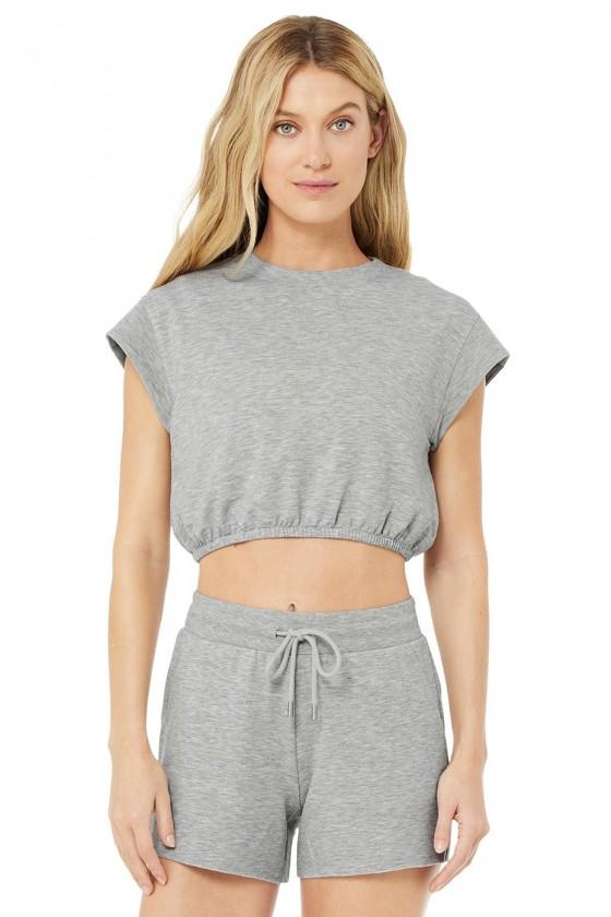Женская укороченая футболка Dreamy Dove Grey Heather
