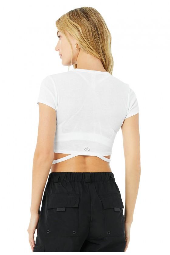 Жіноча укорочена футболка Halo Crop Tee White