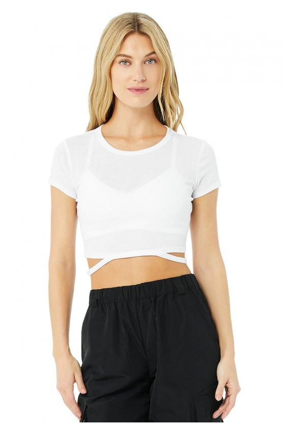 Женская укороченная футболка Halo Crop Tee White