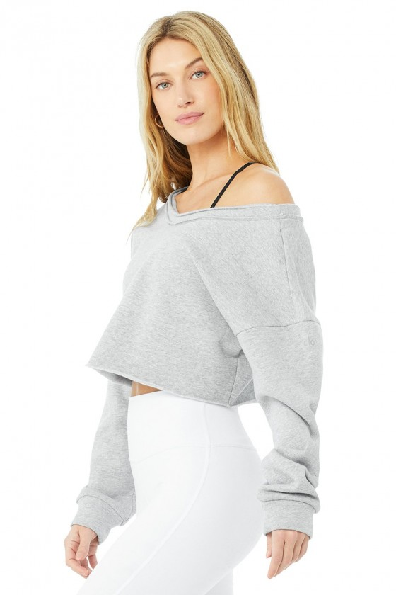 Женский укороченый пуловер Dove Grey Heather
