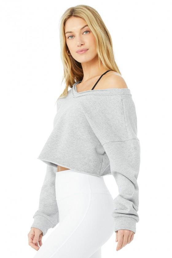 Жіночий укорочений пуловер Dove Grey Heather