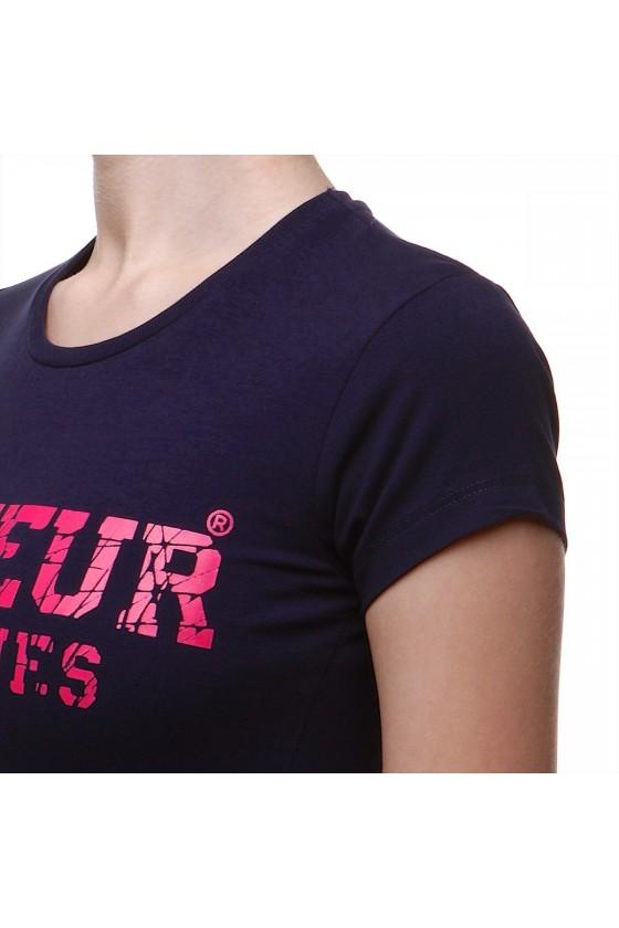 Жіноча футболка з великим логотипом спереду темно-синя