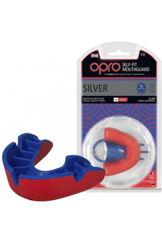 Капа OPRO Silver Red/Blue