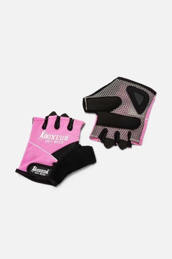 Тренировочные перчатки для фитнеса  и тренажерного зала  фуксия