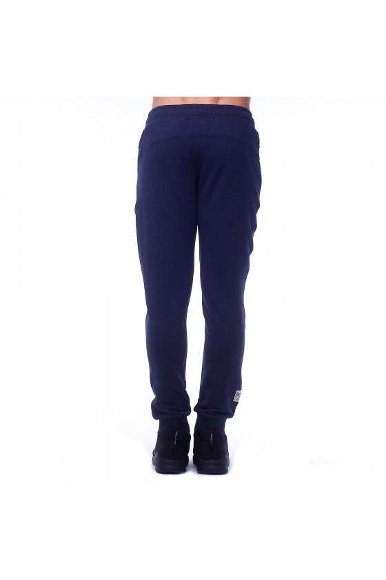 Спортивные штаны синие с камуфляжным логотипом сбоку