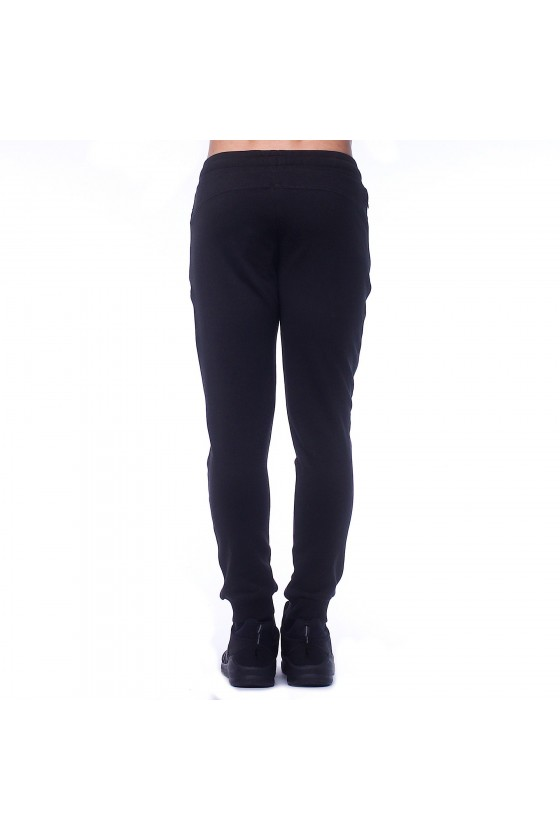 Спортивні штани чорні з камуфляжним логотипом збоку
