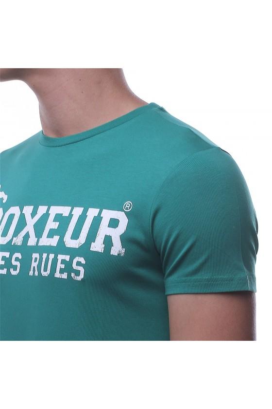 Футболка зелена з круглим коміром і логотипом на спині і грудях