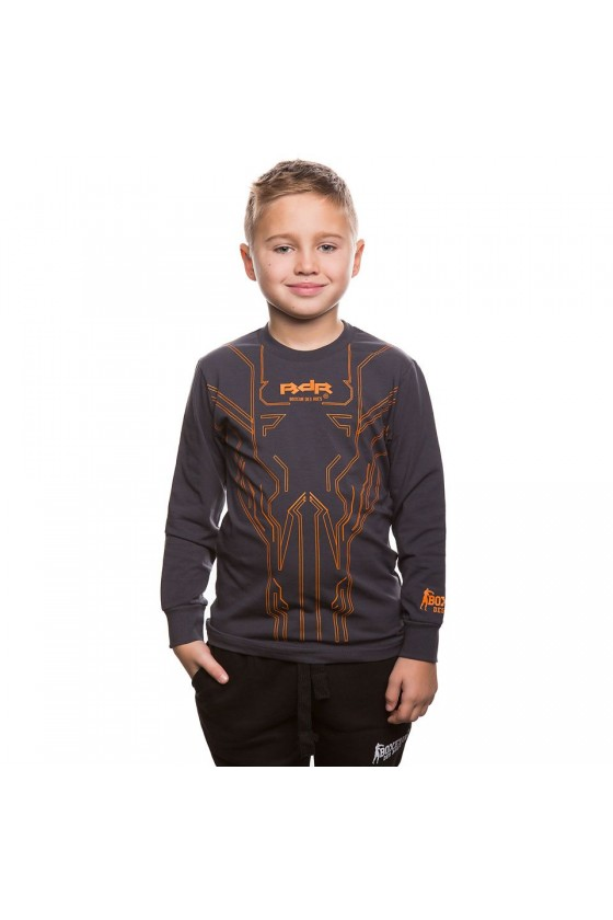 Детский стрейчевый лонгслив с принтом антрацит-оранжевый