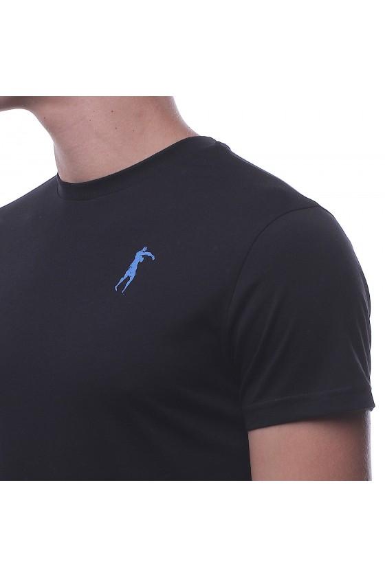 Футболка чорна з круглим коміром і логотипом на грудях