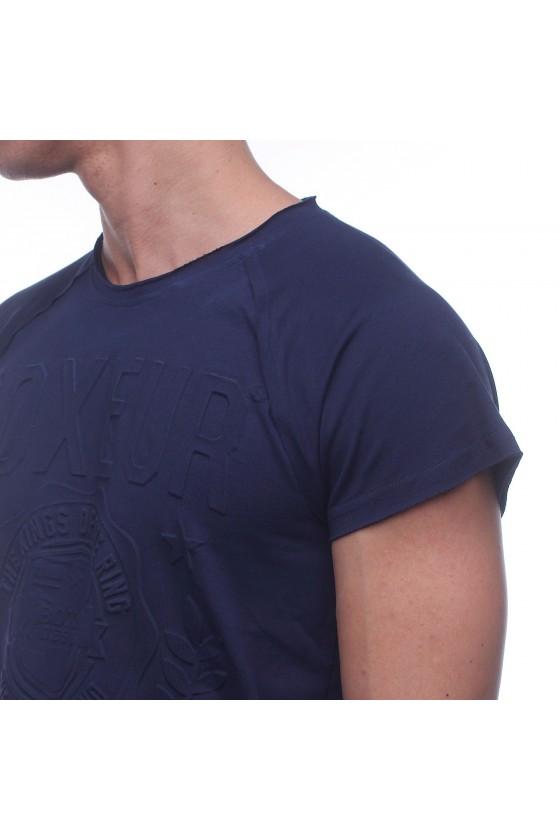 Футболка синя з об'ємним логотипом і написом на грудях