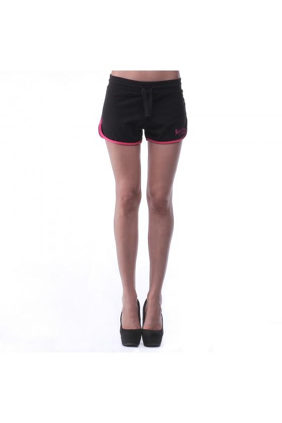 Женские шорты черные с розовой окантовкой