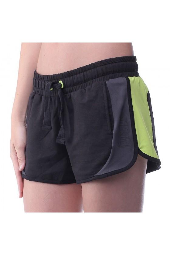Женские шорты черные с салатовыми полосками по бокам
