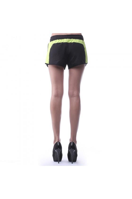 Жіночі шорти чорні з салатовим смужками по боках