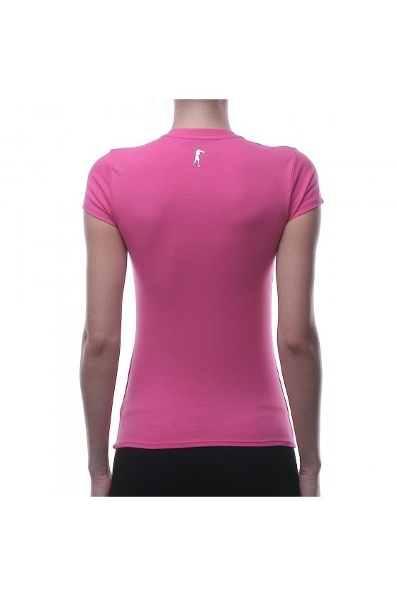 Женскиая футболка фуксия с v-образным воротником и цветным логотипом