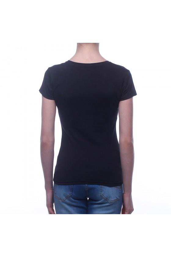 Жіноча футболка чорна з v-подібним коміром і кольоровим логотипом
