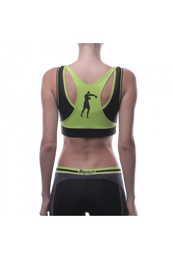 Жіночий спортивний топ антрацитовий з салатовой окантовкою