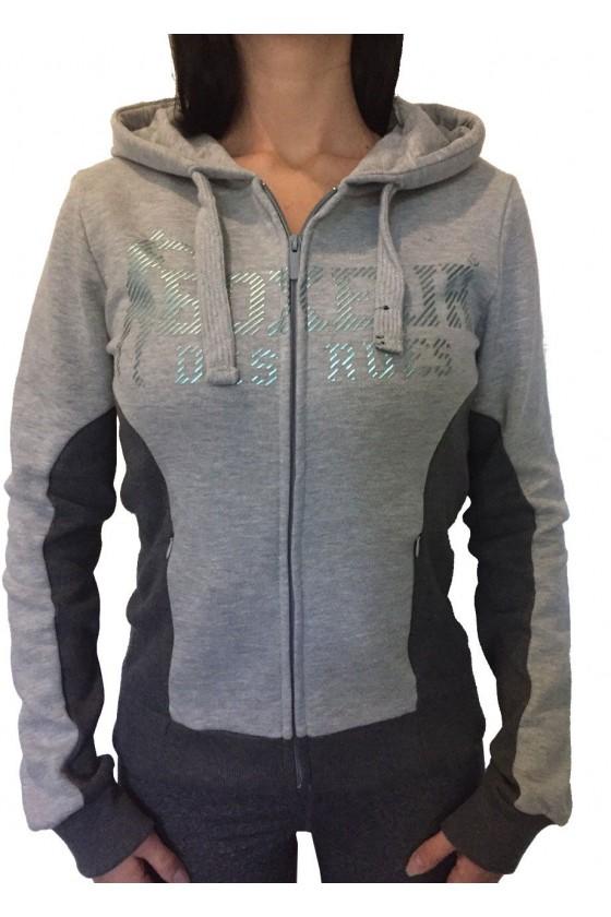 Женская худи с большим логотипом спереди серая