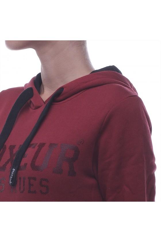 Женская худи с карманом спереди бургунди