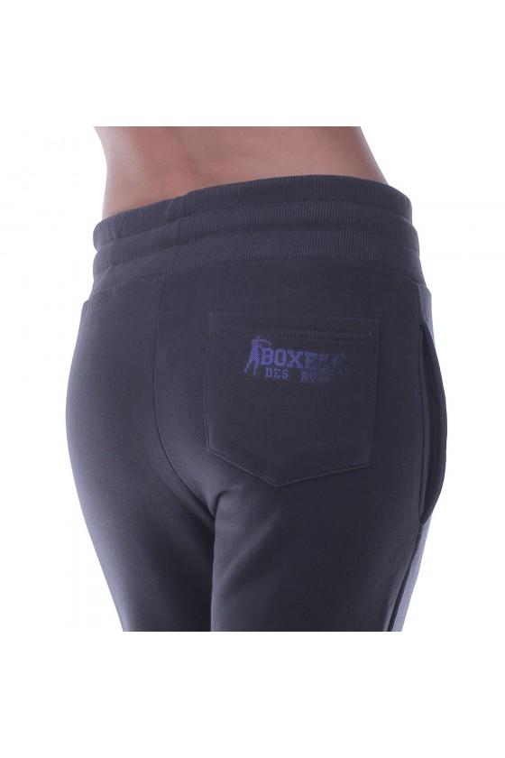 Жіночі спортивні штани basic з маленьким логотипом сірий антрацит