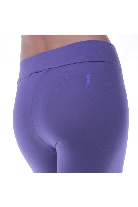 Женские леггинсы c фольгированным принтом на ноге фиолетовые