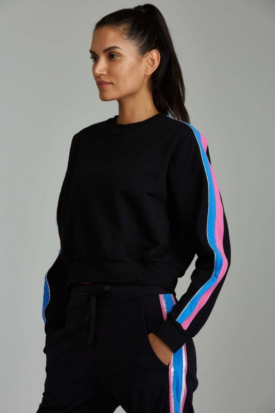 Жіноча коротка спортивна кофта Chase Black / Azure