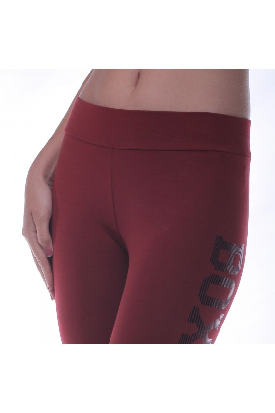 Жіночі легінси c фольгированним принтом на нозі бургунди