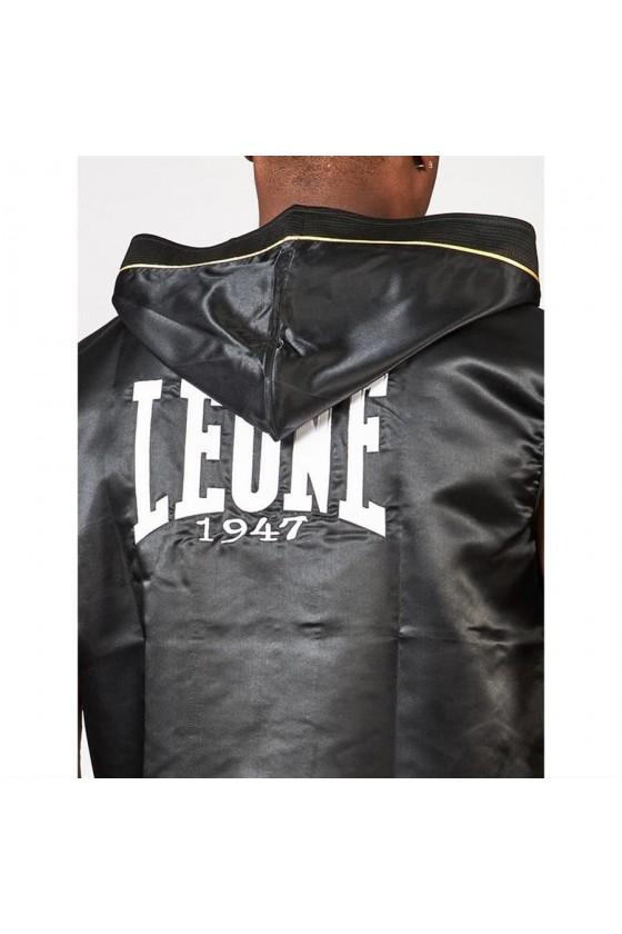 Боксерский халат premium Leone черный