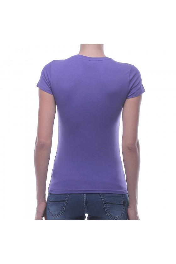 Жіноча футболка з круглим коміром і фольгированним принтом фіолетова