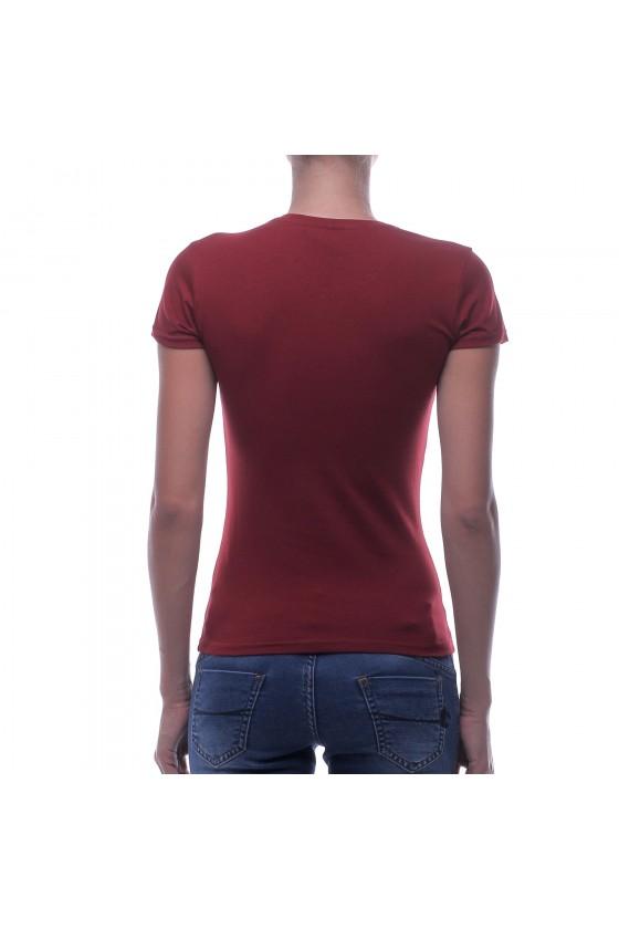 Жіноча футболка з круглим коміром і фольгированним принтом бургунди