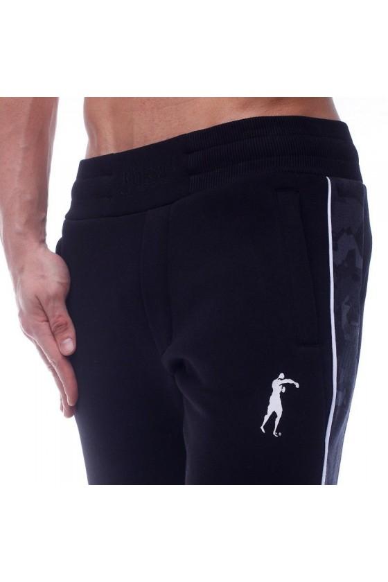 Спортивные штаны с камуфляжными вставками черные