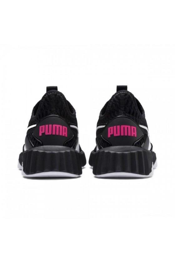 Детские кроссовки puma DEFY PS черные с розовым логотипом