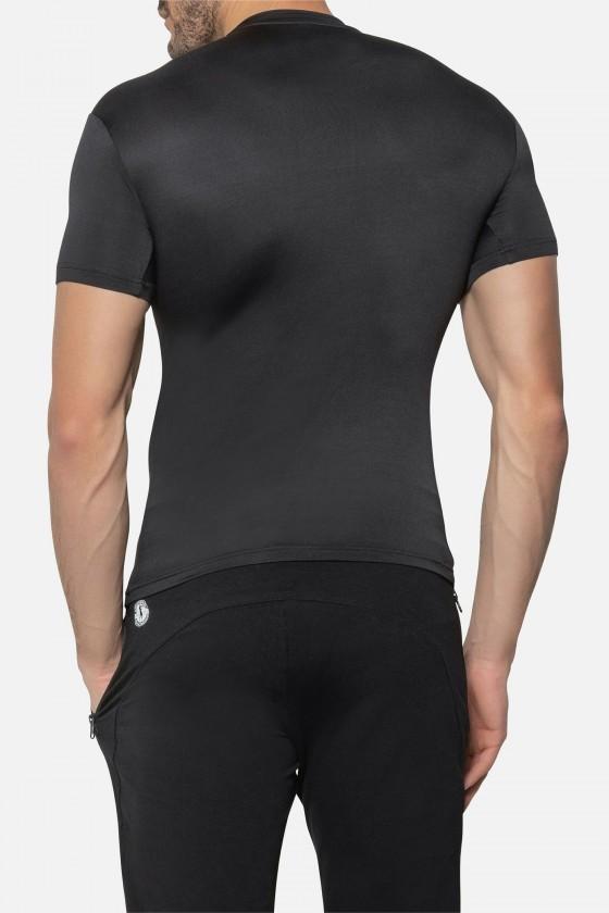 Футболка slim fit з круглим коміром і великим логотипом спереду чорна